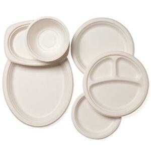 Image is loading Biodegradable-Bagasse-Sugarcane-White-Paper-Plates -Bowls-Starter-  sc 1 st  eBay & Biodegradable Bagasse Sugarcane White Paper Plates Bowls Starter ...