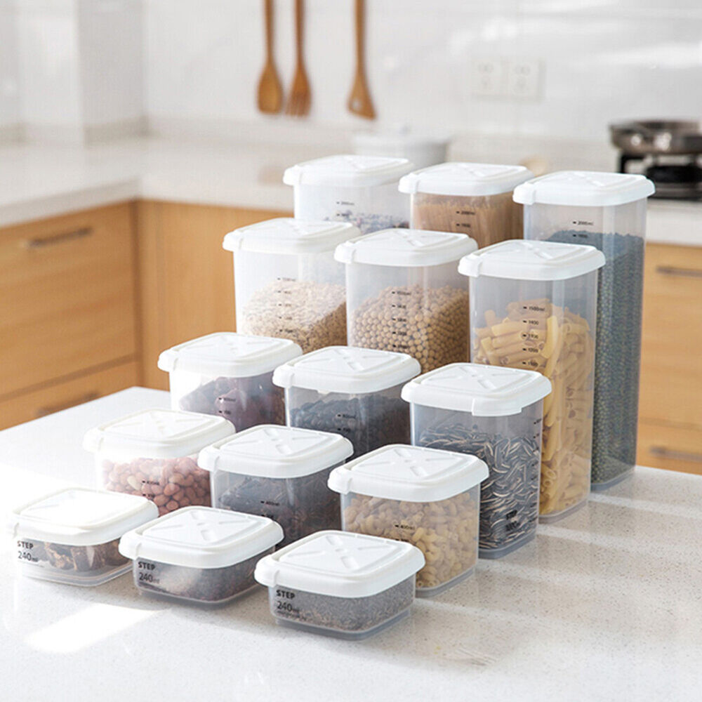 HK- Cg_ Transparent Kitchen Fridge Tea Bean Grain Storage Sealing Can Case Conta Food Storage Containers