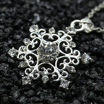 Classic Silver Crystal Charm Snowflake Pendant Xmas for Necklace Chain Jewelry
