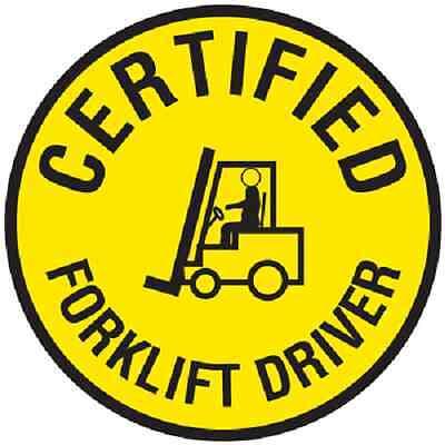"""2/"""" x 2/"""" Set of 10 Certified Forklift Driver Hard Hat Helmet Sticker Label"""