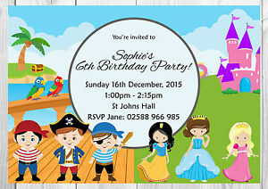 Details About Personalised Princess And Pirate Childrens Birthday Party Invitations