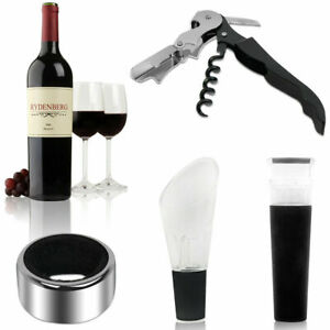 4 in 1 Wine Tool Gift Set Stainless Steel Bottle Opener Corkscrew Stopper Pourer