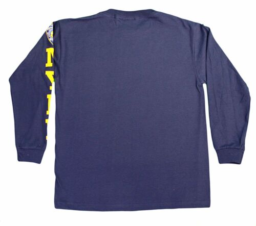 NYPD Kids Long Sleeve Screen Print Chest Badge T-Shirt Navy Yellow
