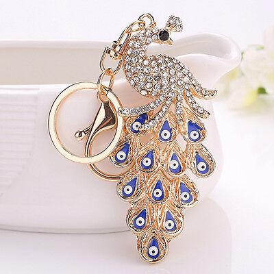 Peacock Crystal Keyring Rhinestone Keychain Purse Handbag Car Key Charm Pendant