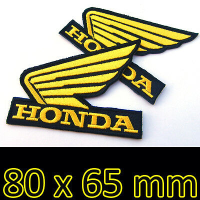 BIKER IRON ON PATCH HONDA MOTORCYCLES YELLOW