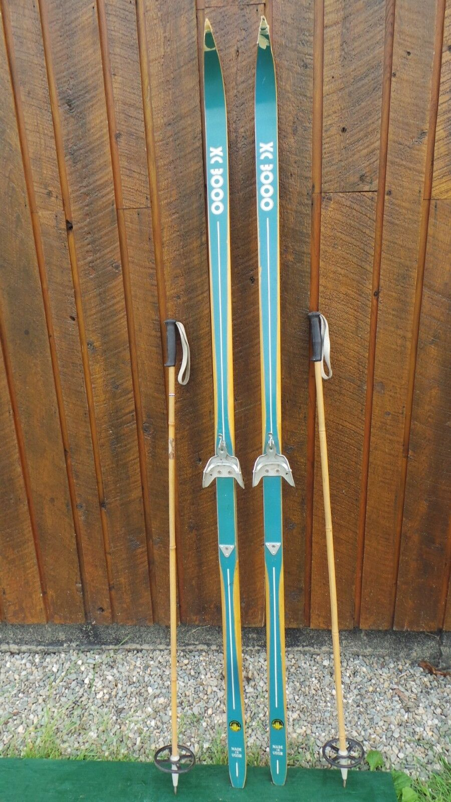 Vintage Wooden Skis with Original Finish and Bindings