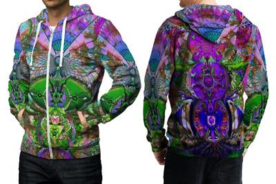 Satanic DMT DRUG Dark Psychedelic Hallucinogen lsd Zipper Hoodie Mens RARE ITEMS