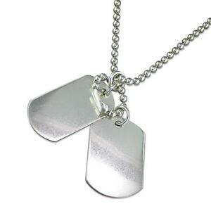 Argent-Sterling-Militaire-Style-Armee-Double-Chien-Tag-Pendentif-Perle-Chaine