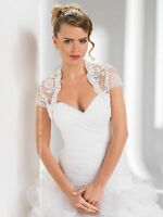 Wedding Bridal Top Ivory/white Lace Bolero/shrug/jacket Short Sleeve S-xxxl