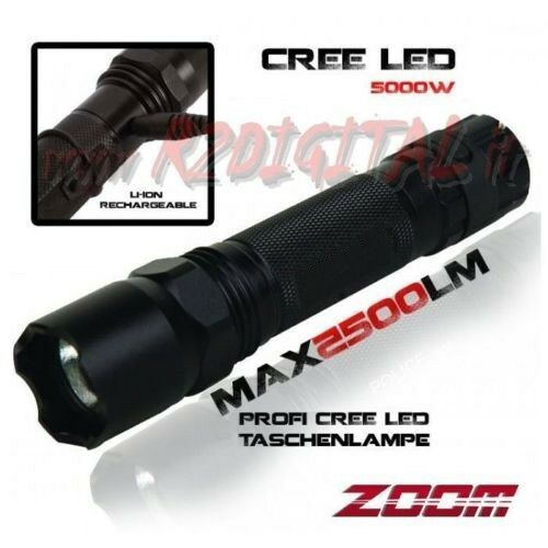 ANTORCHA MILITAR POLICE NEGRA MUY POTENTE LED RECARGABLE ZOOM MILITAR 400 MT