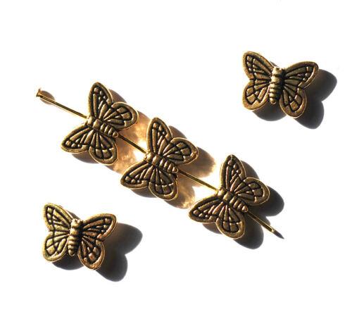 Metal perlas mariposa 14 mm oro 5x de bacatus