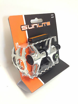 """SUNLITE FOLDING ALLOY SILVER 9//16/"""" BICYCLE BIKE PEDALS NEW"""
