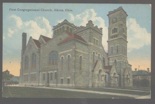 Postcard AKRON OhioOH 1st First Congregational Church 1907?