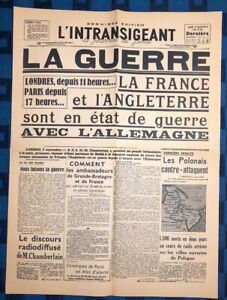 La-Une-Du-Journal-L-intransigeant-Lundi-4-Septembre-1939-La-Guerre