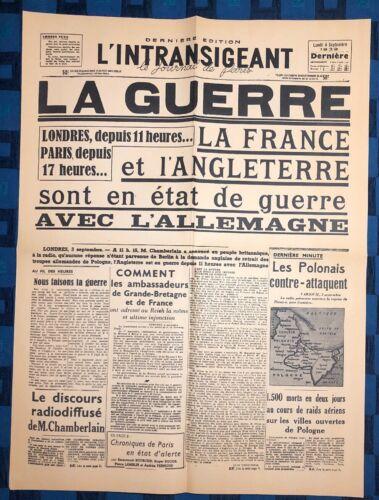 La Une Du Journal L'intransigeant Lundi 4 Septembre 1939 La Guerre