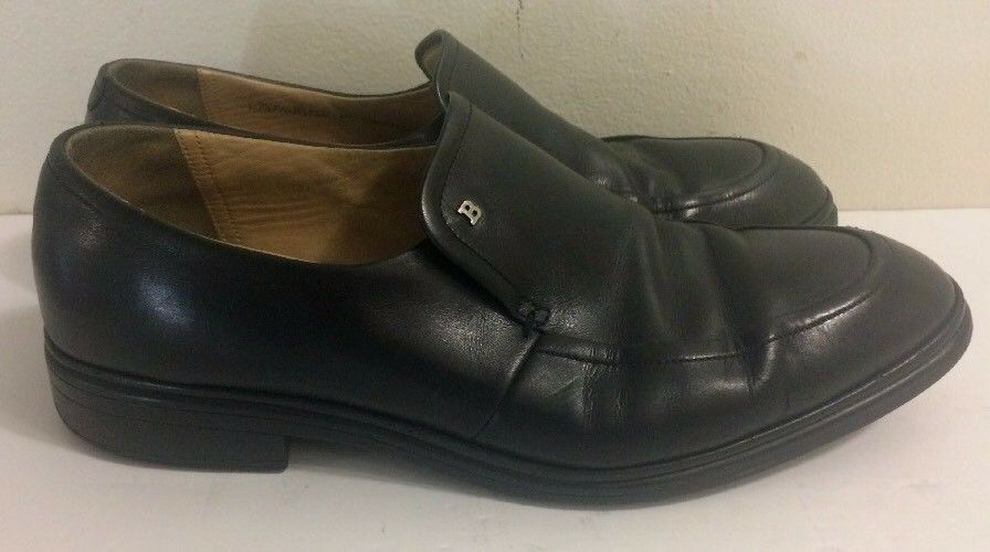 Bally Black Leather Slip On Loafers EEE Women's Size 8 1/2 EEE Loafers 927029