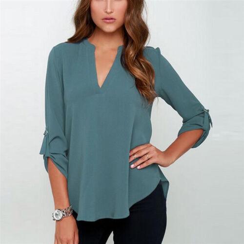 Damen V-Ausschnitt Chiffon 3//4 Ärmel Bluse T Shirt Oberteile Tops Hemd Gr.34-50