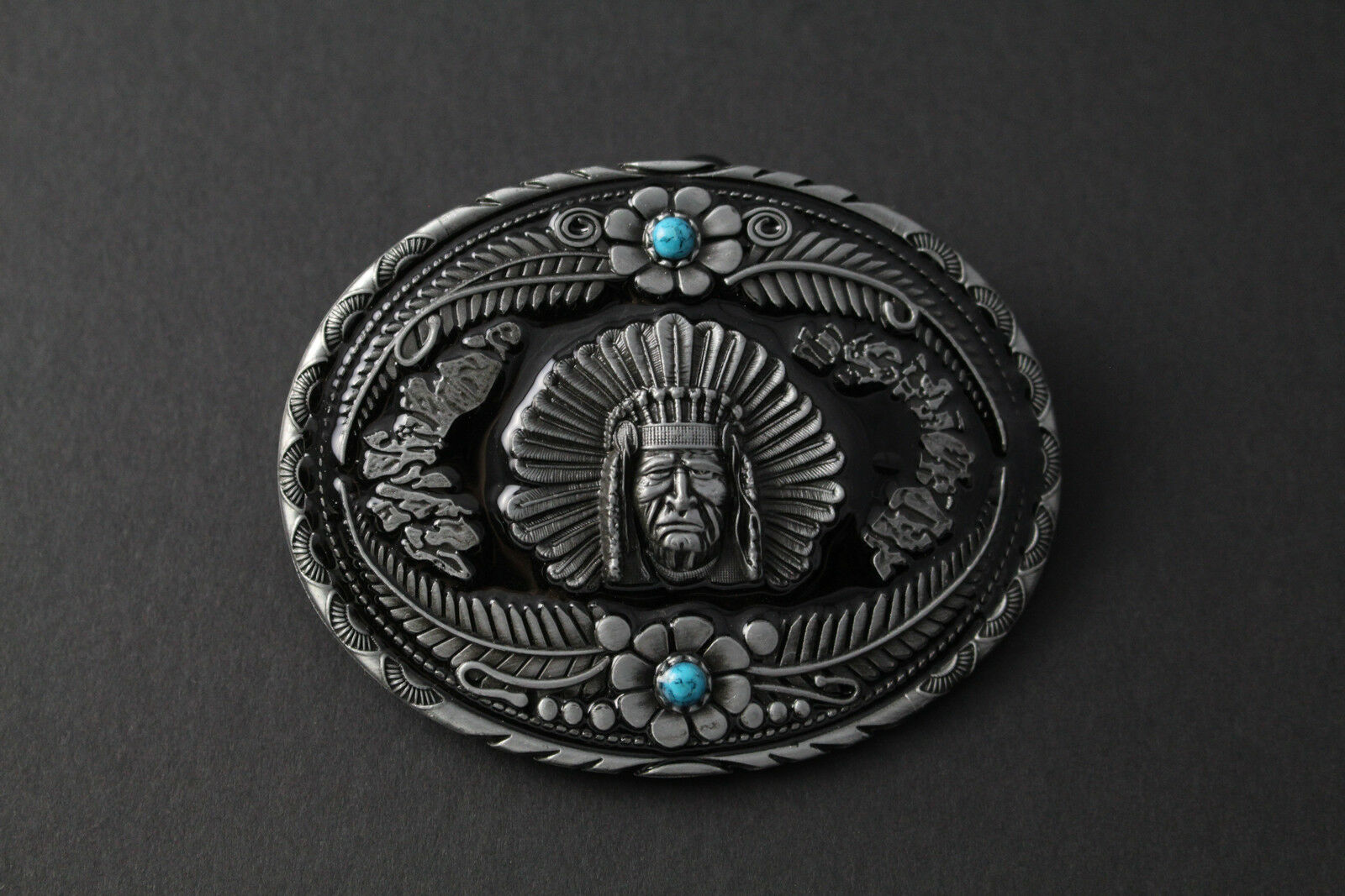 OVAL AMERICAN INDIAN FACE CHEROKEE BELT BUCKLE BLACK METAL FLORAL DETAIL