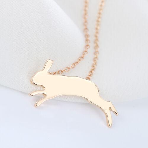 Animal Bunny Necklaces Running Rabbit Pendant Women Men Jewelry Birthday Gifts