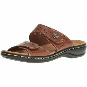 Clarks-Women-Slide-Sandals-Leisa-Lacole-Size-US-7-5M-Tan-Leather-Double-Strap