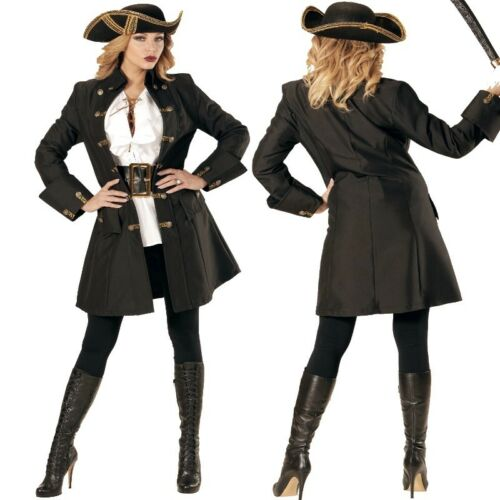 Damen Kostüm Edelfrau Mittelalter Edle Damenjacke Piratin Kurzmantel schwarz