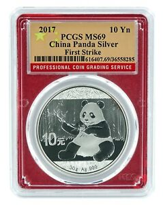 2017-China-10-Yuan-Silver-Panda-PCGS-MS69-First-Strike-Red-Frame-Flag-Label