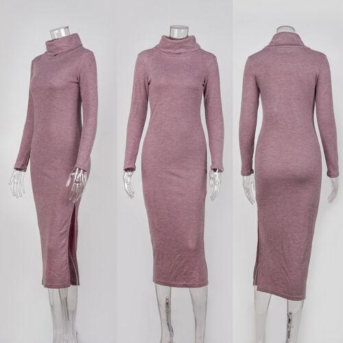 HOT Women Autumn Winter Long Sleeve Knit Bodycon Sweater Jumper Split Midi Dress
