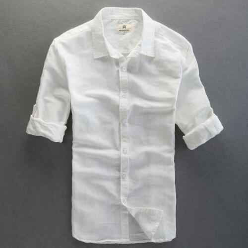 Fashion Men/'s Linen Shirts Long Sleeve Slim Fit Breathable Cotton Shirts New Hot