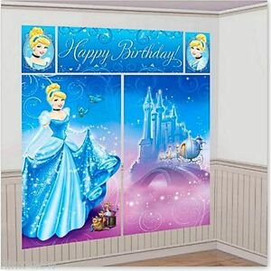 CINDERELLA Birthday Party Wall Mural Scene Setter Decorating Kit 6