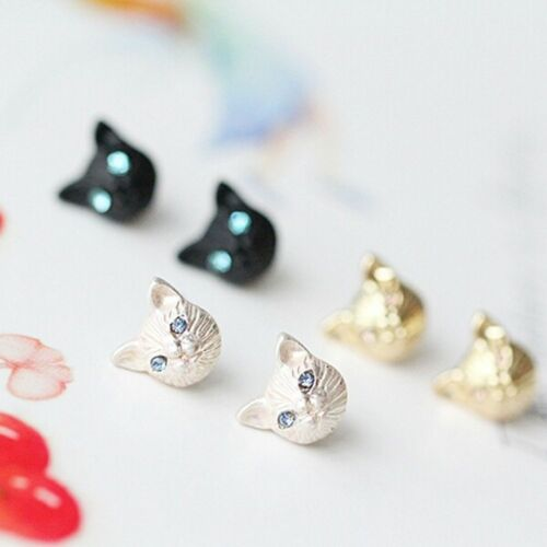 Jewelry Black 3D Cat Gold Plated Shiny Earring Silver Plated Ear Stud Cat Head
