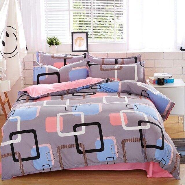 Comforter Bedding Cover Set Printed Bed Sheet Pillowcase Duvet Modern Design 4pc