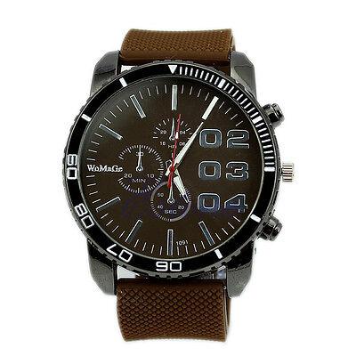 Men Sport Watch Big Dial Analog Silicone Band Quartz Wristwatch Newest