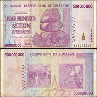 Zimbabwe 500 Million Dollar Banknote, 2008, AA Series, USED