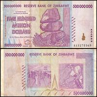Zimbabwe 500 Million Dollar Banknote, 2008, AA Series, USED