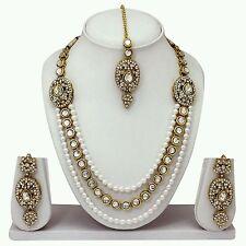 TraditionaI Indian GoldPlated Diamond&kundan Necklace Earring Tika Jewelery Set
