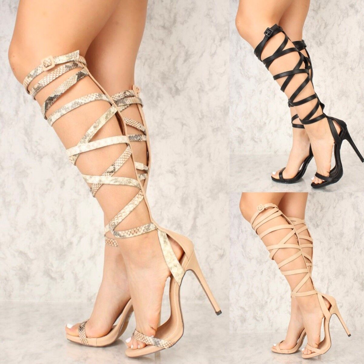Sexy Strappy Mid Calf Knee High Sandals Gladiator Stiletto Heel Pumps Sandals High Shoes G32 ba649f
