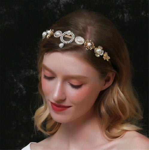 Women Pearl Crystal Retro Royal Forehead Hair Headband head Band Hoop accessory