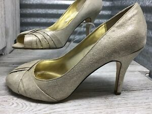 Nina-Women-039-s-Gold-Shinning-Texture-Comfort-Pump-Drape-Peep-Toe-Size-9
