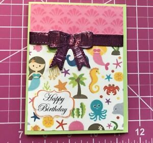 Birthday-Card-Love-The-Ocean-Animals-And-Mermaids-Sparkle-Ribbon-Handmade