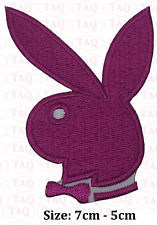 playboy pink iron sew on bunny with bow  embroidered badge applique # 191