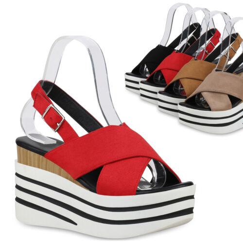 Damen Plateau Sandaletten Keilabsatz High Heels Sommer Schuhe 830219 Trendy