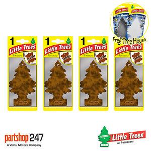 4 x Leather Magic Tree Little Trees Car Home Air Freshener + FREE TREE HOUSE