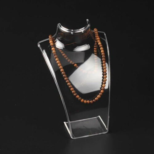 2*Acrylic Necklace Stand Cewellery Earrings Retail Shop Display Busts Holder ZH1
