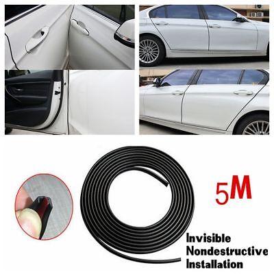 16ft 5m Long Diy Moulding Trim Strip Car Door Scratch Protector Edge Guard Black