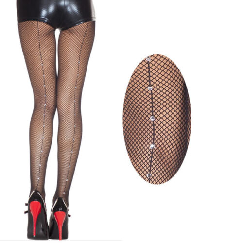 Vintage Clear Rhinestone Backseam Pantyhose Full Tights Fishnet Stockings OS US