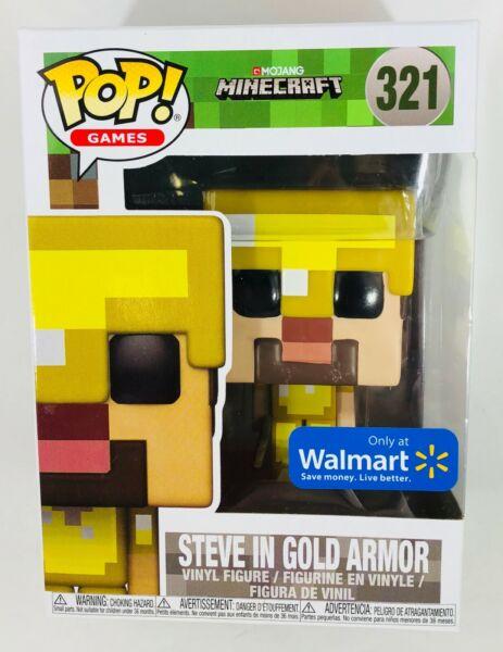 """""""new"""" Funko Pop! Minecraft Steve En Or Armor #321, Nouveau En Légèrement Usé Box"""