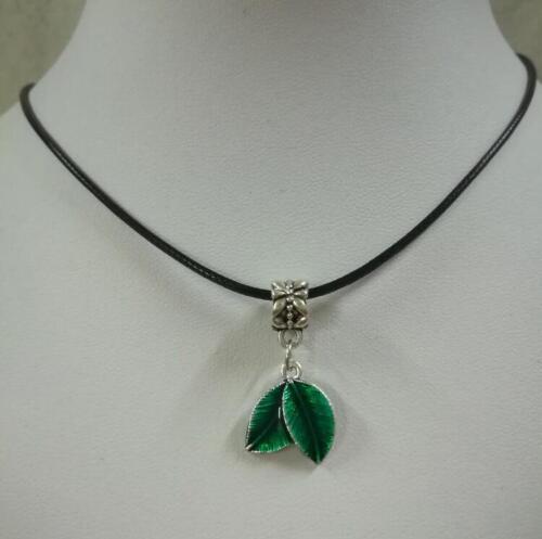 Korean fashion creative leaf leather rope necklace pendant 1pcs