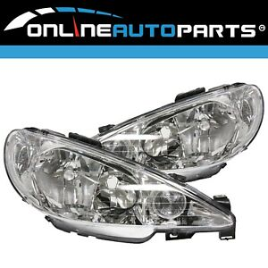 LH+RH Clear/Crystal Headlight for Peugeot 206 Hatch 2003-2008 Left Right L+R