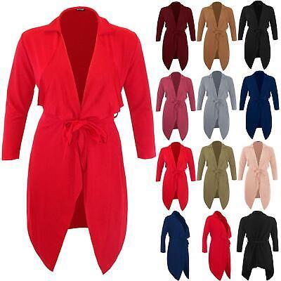 Womens Italian Cape Blazer Long Sleeve Tie Knot Belt Cardigan Waterfall Jacket