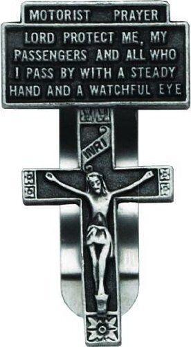 Motorist Prayer with Crucifix Visor Clip KVC111 NEW carded